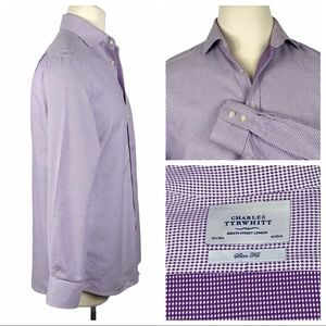 Charles Tyrwhitt Purple White Dress Shirt Slim Fit